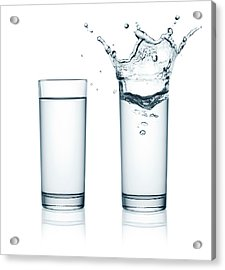 Two Glasses Of Water, One With Splashes Acrylic Print by Julichka