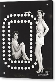 Two Models Posing By Large Letter O Acrylic Print