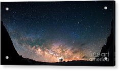 Two People Standing Together Holding Acrylic Print by Anton Jankovoy