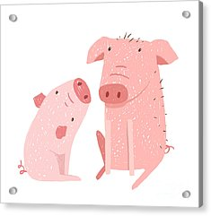 Two Pigs Parent And Child Cartoon. Two Acrylic Print