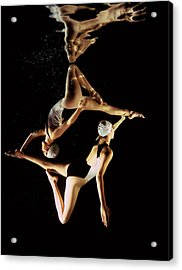 Two Synchronised Swimmers, Underwater Acrylic Print by Zac Macaulay