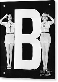 Two Women Saluting With Huge Letter B Acrylic Print