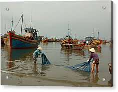Two Women Washing Canvas At A Harbor Acrylic Print
