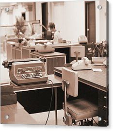 Typing Pool Workstation Acrylic Print by H. Armstrong Roberts