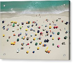 Umbrella Pattern On Beach Acrylic Print