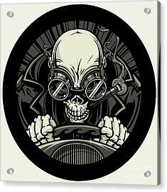 Undead Stock Car Racer. Vector Acrylic Print by Stockmambadotcom