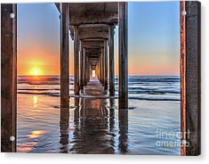 Under Scripps Pier At Sunset  ..autographed.. Acrylic Print