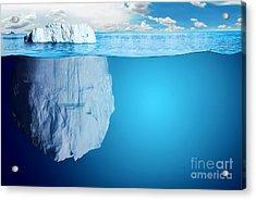 Underwater View Of Iceberg With Acrylic Print by Niyazz