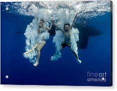 Underwater View Of The Young Couple Acrylic Print