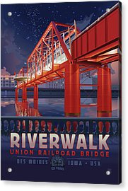 Union Railroad Bridge - Riverwalk Acrylic Print