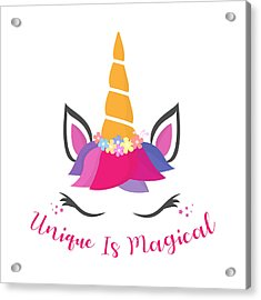 Unique Is Magical - Baby Room Nursery Art Poster Print Acrylic Print