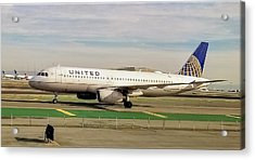 United Airline Airbus A320 At San Francisco International Airport Acrylic Print