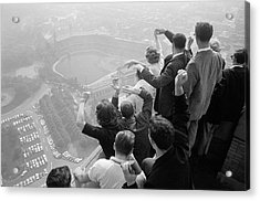 Univ. Of Pittsburgh Students Cheering Wi Acrylic Print by George Silk