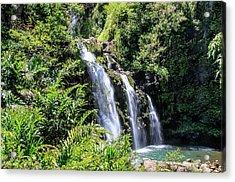 Acrylic Print featuring the photograph Upper Waikani Falls by Dawn Richards