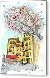 Urban Sketch In Barcelona Acrylic Print