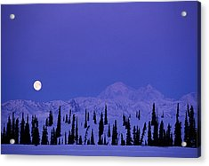 Usa, Alaska, Full Moon Over Mt Mckinley Acrylic Print