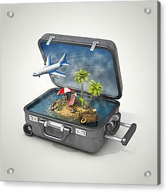 Vacation Island In Suitcase Acrylic Print by Pagadesign