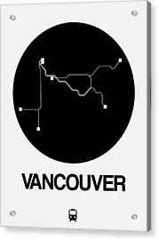 Vancouver Black Subway Map Acrylic Print