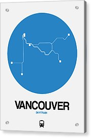 Vancouver Blue Subway Map Acrylic Print