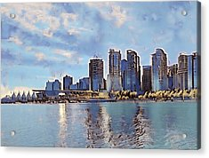 Vancouver From English Bay Acrylic Print by Keith Cassatt