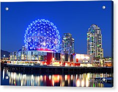 Vancouver Science World At Night Acrylic Print by Wangkun Jia