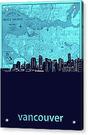 Vancouver Skyline Map Turquoise Acrylic Print