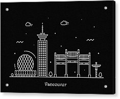 Vancouver Skyline Travel Poster Acrylic Print