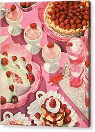 Variety Of Strawberry Desserts Acrylic Print