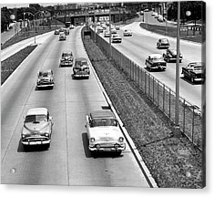 Various American Autos On Highway Acrylic Print by George Marks