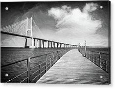 Vasco Da Gama Bridge Lisbon Portugal Black And White  Acrylic Print