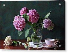 Vase With Hortensia Flowers Acrylic Print