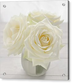 Vase With Tree White Roses On A Sunny Acrylic Print by Cora Niele