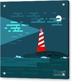 Vector Background With Lighthouse, Sea Acrylic Print