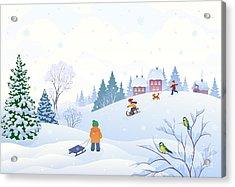 Vector Cartoon Illustration Of A Winter Acrylic Print