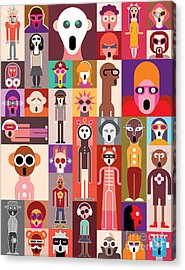 Vector Collage Of Many Shocked Faces Acrylic Print
