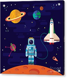 Vector Flat Space Elements With Acrylic Print