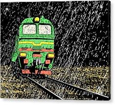 Vector Illustration Of A Russian Train Acrylic Print