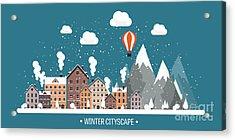 Vector Illustration. Winter Urban Acrylic Print by 32 Pixels