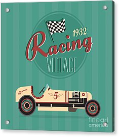 Vector Vintage Sport Racing Car Acrylic Print