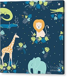 Vector Wildlife Seamless Pattern With Acrylic Print