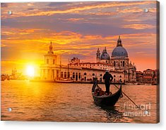 Venetian Gondolier Punting Gondola Acrylic Print