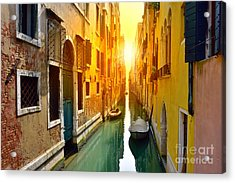 Venice Canal At Sunrise. Tourists From Acrylic Print