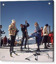 Verbier Skiers Acrylic Print by Slim Aarons