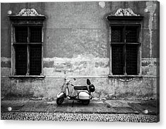 Vespa Piaggio. Black And White Acrylic Print