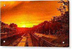 Vienna Bathed In Orange Sunset Light Acrylic Print