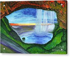 View From The Cave To The Waterfall Acrylic Print