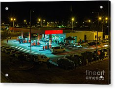View Of A Urban Gas Station Working In Acrylic Print