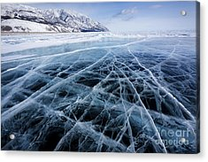 View Of Beautiful Drawings On Ice From Acrylic Print