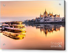 View Of Budapest Parliament At Sunrise Acrylic Print