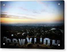 View Of La From Behind The Hollywood Acrylic Print